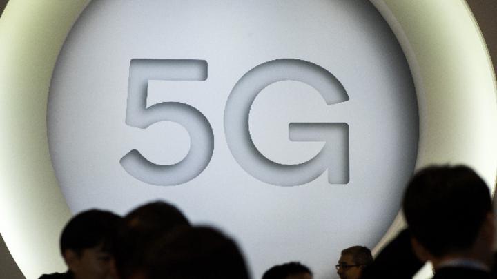 »5G« an einem Stand beim Mobile World Congress.