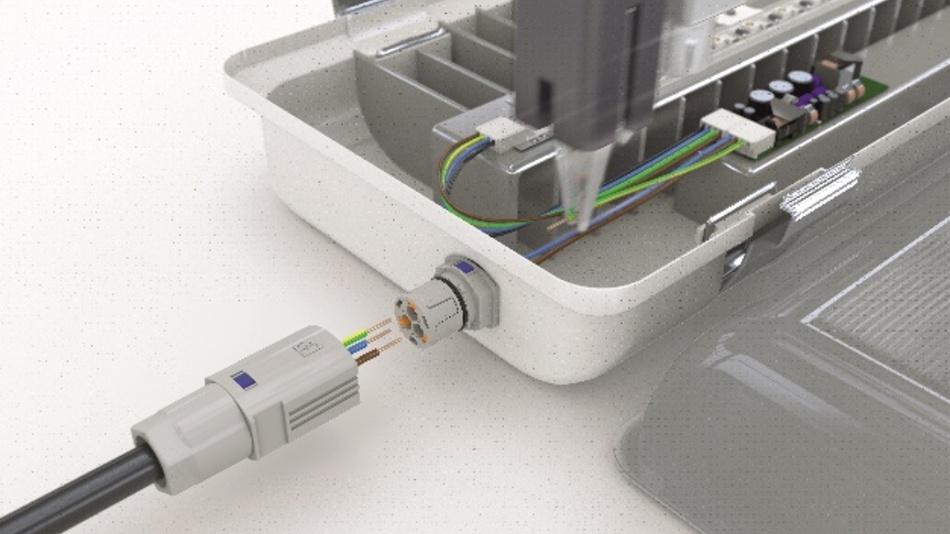 Automatisierte Verdrahtung: Der Push-in-Anschluss ermöglicht geräteseitig den Einsatz von Verdrahtungsrobotern und bietet dem Installateur feldseitig einen einfachen und schnellen Leitungsanschluss.