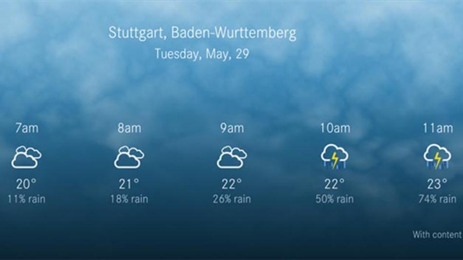 Benötige ich einen Schirm in Stuttgart? Daimler setzt auf Foreca Weather für das neue MBUX-Infotainment-System der neuen A-Klasse von Mercedes.