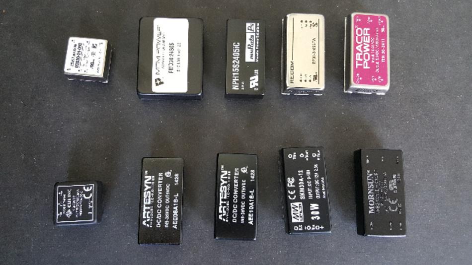 Einige der leiterplattenmontierbaren DC/DC-Wandler, die wir durchgemessen haben.