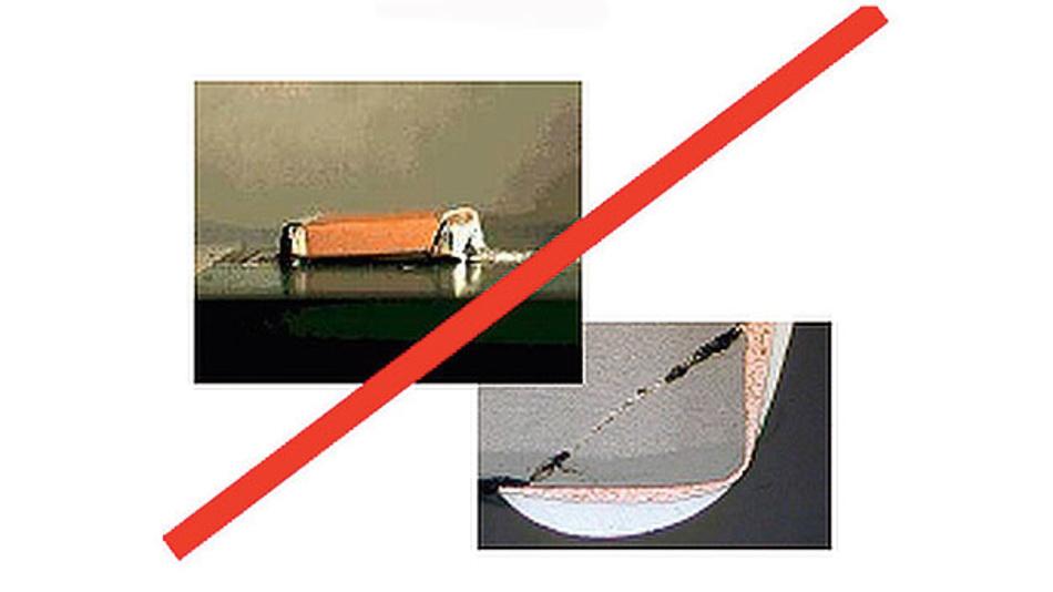 Bild 5. Ein Biegeriss führt im MLCC unter Umständen zu einem Kurzschluss zwischen den gegenüberliegenden Innenelektroden.