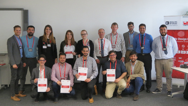 The winning student teams and the Organization Team of the First European University Design Contest together with Alexander Gerfer, CTO at Würth Elektronik eiSos Group (back, 6th from left) and Uwe Bröckelmann, Technical Director EMEA at Analog Devices (back, 7th from left).