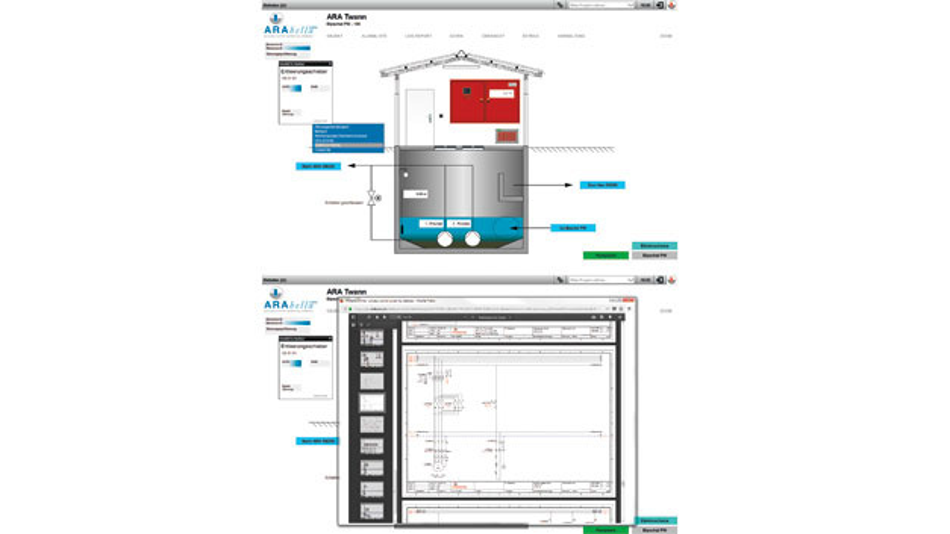 Bild 4a (oben) und 4b (unten). Im Prozessleitsystem kann aus der Ferne auf Automatisierungstechnik sowie Elektroschema, Wartungspläne und Notizen von Kollegen zugegriffen werden.