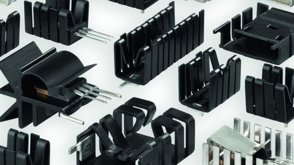 Bild 2: Verschiedene Aufsteckkühlkörper für Durchsteckbauteile.