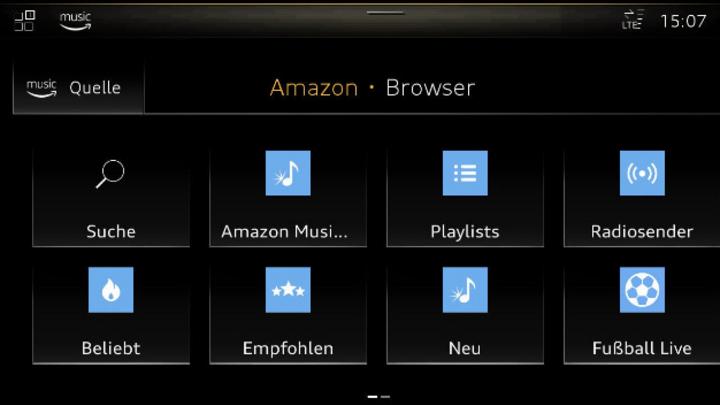 Browseransicht von Amazon Music im Infotainmentsystem von Audi