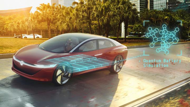 E-Fahrzeug von VW mit Darstellung der Moleküle in Batterien