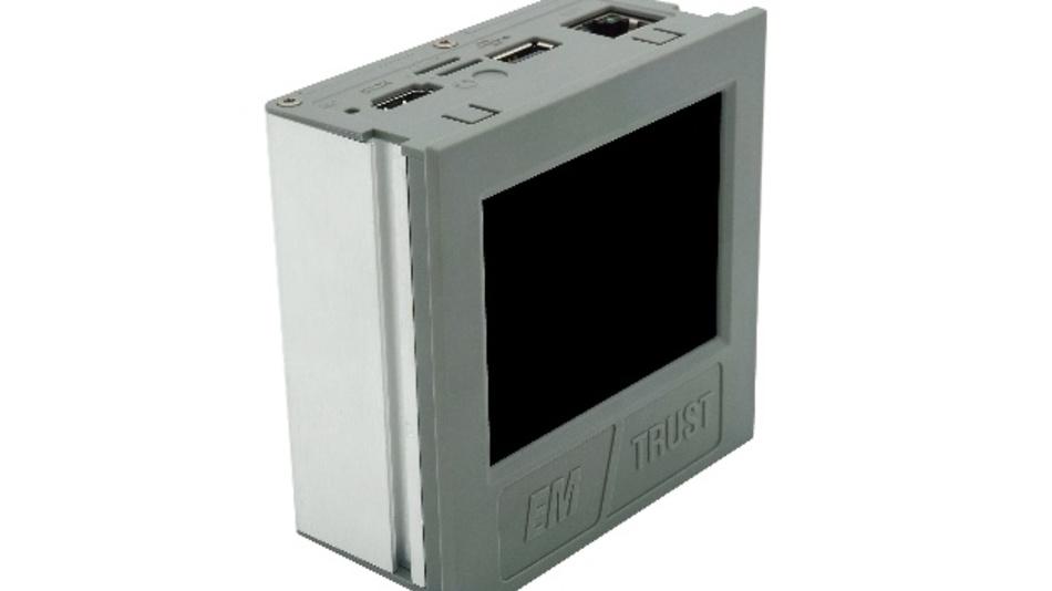 """E.E.P.D. bietet mit """"Androx"""" einen Panel-PC mit 3,5-Zoll-Display für die Hutschienenmontage an."""