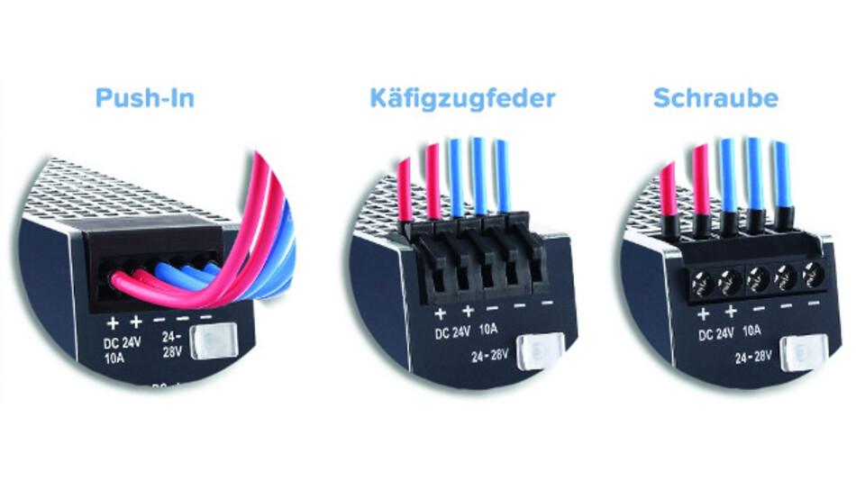Für seine 24-V-Netzteile der CP-Serie bietet Puls Varianten mit verschiedenen Klemmen an.