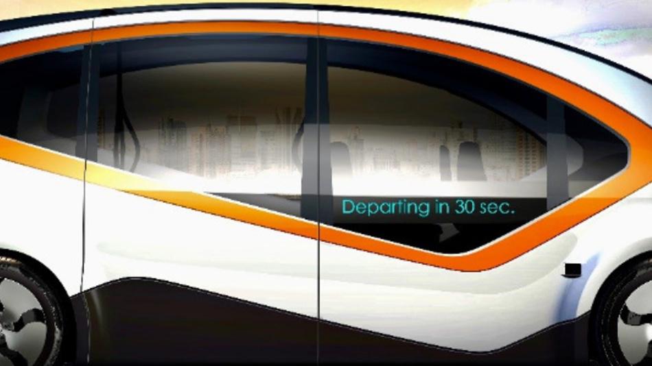 Seitenansicht des autonomen Shuttles von Fisker mit der Bezeichnung »Orbit«.