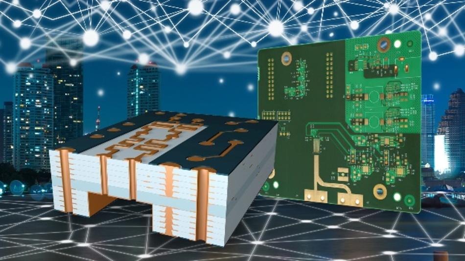 Für 5G-Applikationen bietet ein hybrider Leiterplattenaufbau mit der Kombination von High-Speed-Layern (HF-optimiert) und Standard-Layern eine leistungs- und kosten-optimierte Lösung.