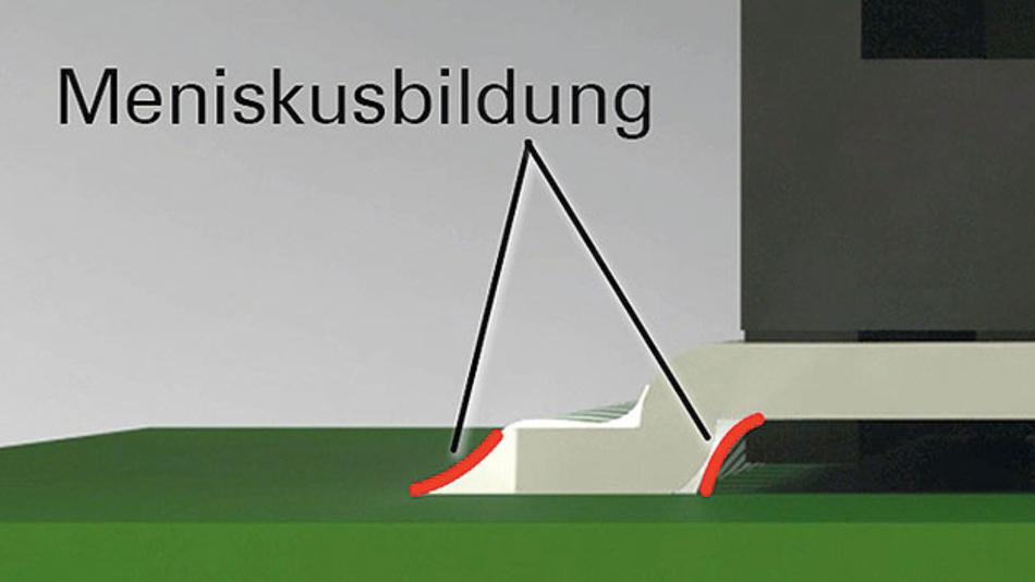 Bild 1. Die Meniskusbildung des Lotes ist ein Zeichen für eine stabile Lötverbindung.