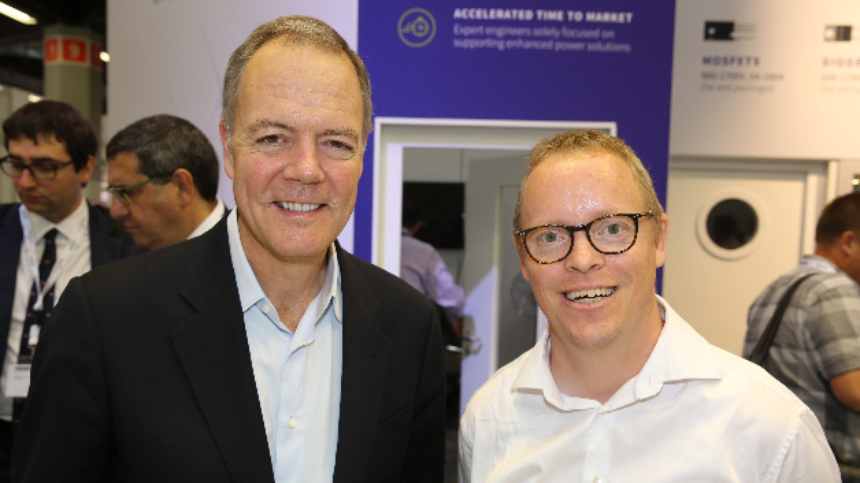 Gregg Lowe (links), CEO von Cree und Wolfspeed, traf sich auf der PCIM Europe 2018 mit dem DESIGN&ELEKTRONIK-Redakeur Ralf Higgelke.