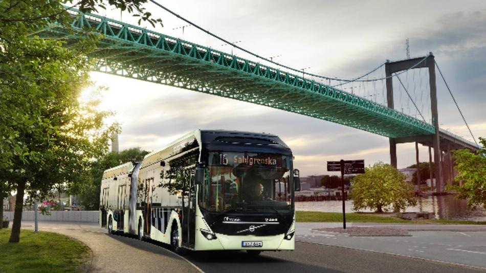 Die elektrischen Gelenkbusse von Volvo werden seit 25. Juni 2018 auf der Linie EL16 in Göteborg getestet.