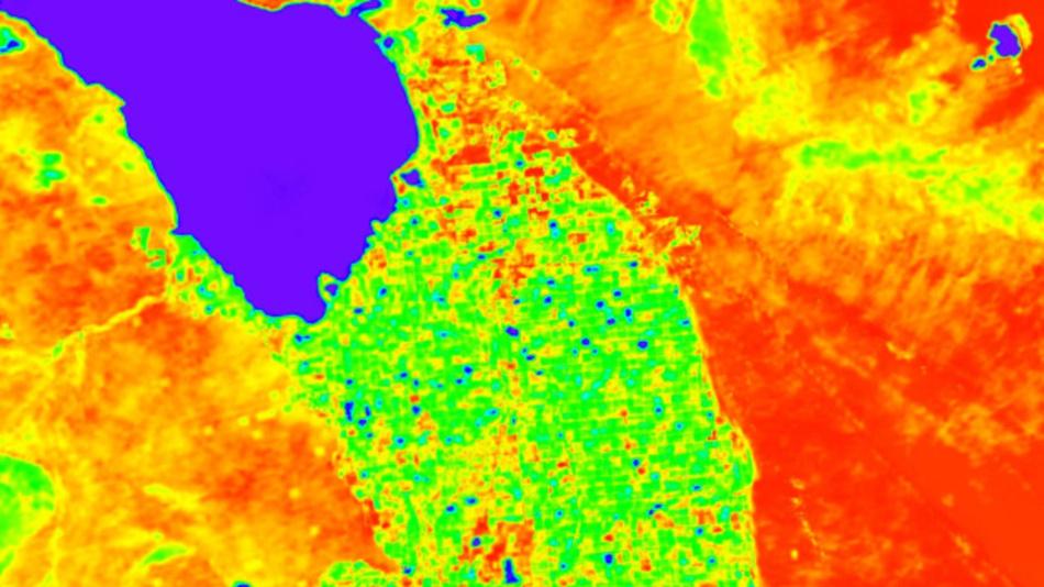 Das von der NASA veröffentlichte Bild zeigt die Simulation der ECOSTRESS Landoberflächentemperaturdaten rund um das kalifornische Salton Meer (dunkelblauer Bereich, oben links). Kühlere Bereiche erscheinen in Blau und Grün, wärmere Bereiche sind in Gelb und Rot zu sehen. Die US-Raumfahrtbehörde Nasa will von der Internationalen Raumstation ISS aus die Temperatur und damit den Zustand von Pflanzen auf der Erde ermitteln.