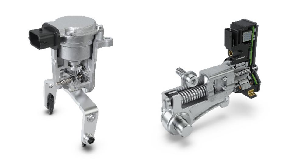 Neue Produkte von Schaeffler: Der E-Achs-Aktor (links) für mehrgängige E-Achssysteme und der Parksperrenaktor (rechts) für E-Achssysteme oder Hybridgetriebe.