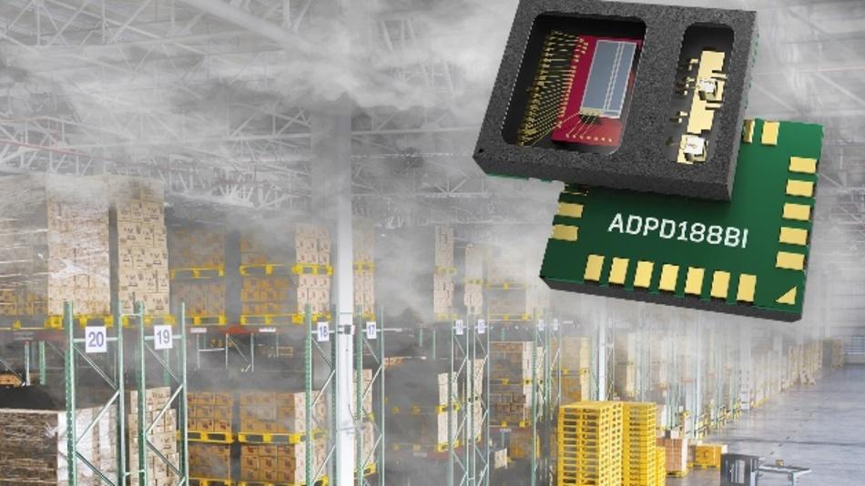Das integrierte optische Modul ADPD188BI vor. Das neue Bauteil enthält zwei LEDs, zwei Fotodioden sowie eine analoge Eingangsstufe (AFE)
