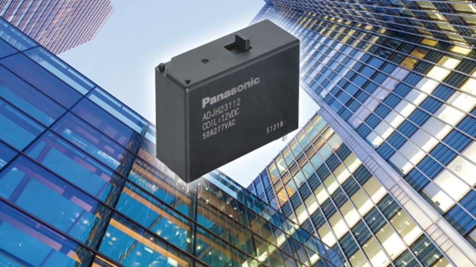 Panasonics bistabiles Leistungs-Relais DJ-H weist eine maximale Schaltspannung von 480V AC bei 25A auf; die Stoßspannungsfestigkeit beträgt 12kV.