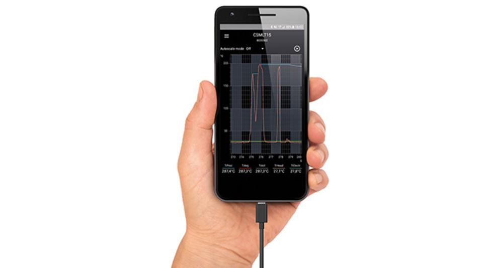Die neue IRmobile-App für IR-Thermometer der Linie optris CSmicro.