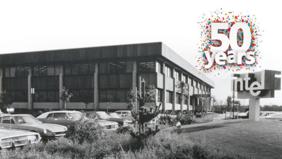 """Intels Headquarter """"SC1"""" in Santa Clara in den frühen 1970er-Jahren. Zuvor war das Unternehmen in einem angemieteten Gebäude in Mountain View beheimatet."""