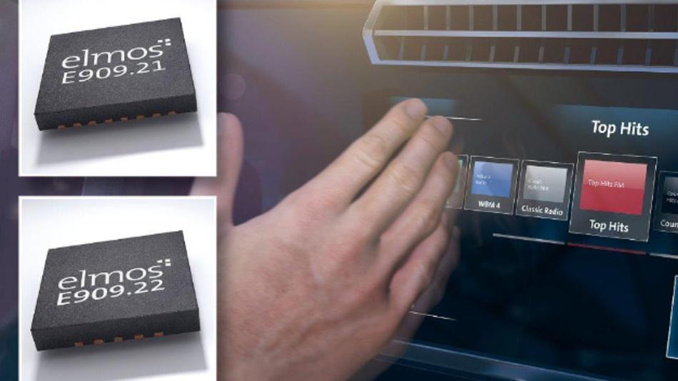 Controller-IC im 5x5 mm Gehäuse und Signalkonditionierer im 4x4 mm Gehäuse für infrarote Gestenerkennung.