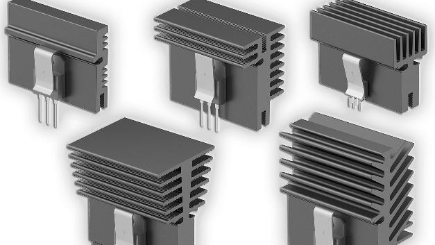 Leiterplattenkühlkörper für Einrast-Transistorhaltefedern