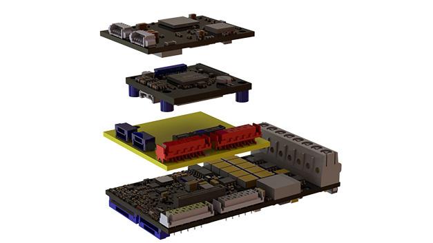 Der Somanet Servo-Antrieb besteht aus den Modulen Kommunikation (Com), Prozessor (Core) und Antriebsmodul (Drive) und optional dem neuen Safe-Motion-Module, das zwischen Drive und Core verbaut wird.