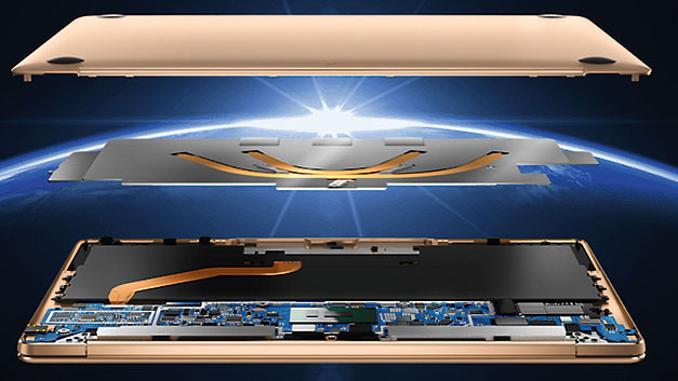 Bild 1. Das Huawei Matebook X ist ein lüfterloser Laptop, der Heat-Pipes und PCM-Material für die Kühlung nutzt.