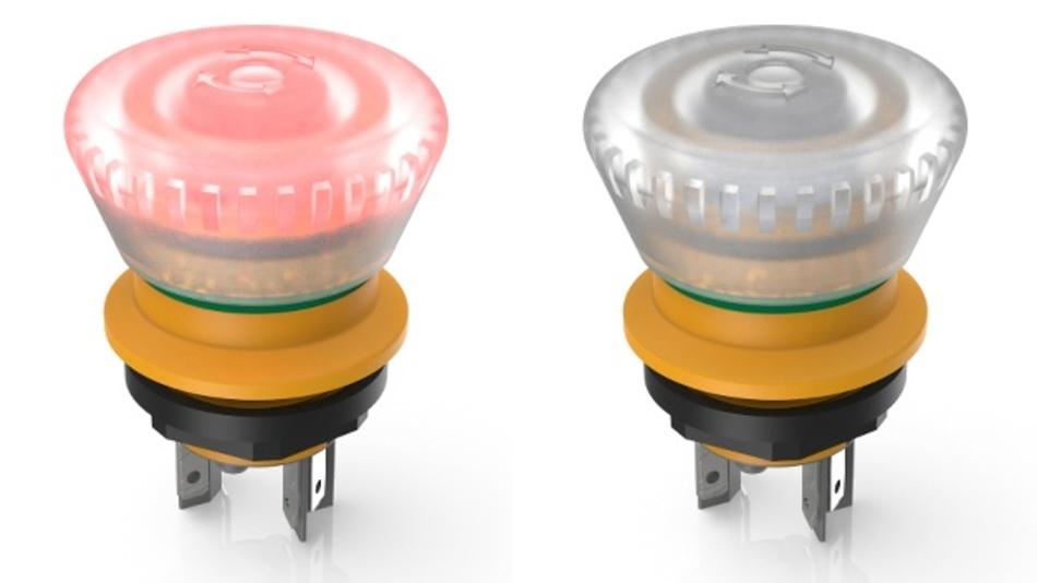 Der neue, aktive/inaktive Not-Halt-Taster aus der Serie LUMOTAST 16 ist nur bei ordnungsgemäßer Verbindung als sicherheitsgerichtetes Gerät erkennbar.