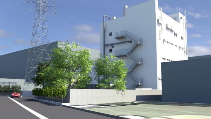 Das neue Gebäude für die Produktion von Katalysatoren für Brennstoffzellen befindet sich neben dem bestehenden Entwicklungszentrum im Shonan-Werk von Tanaka in der Präfektur Kanagawa.