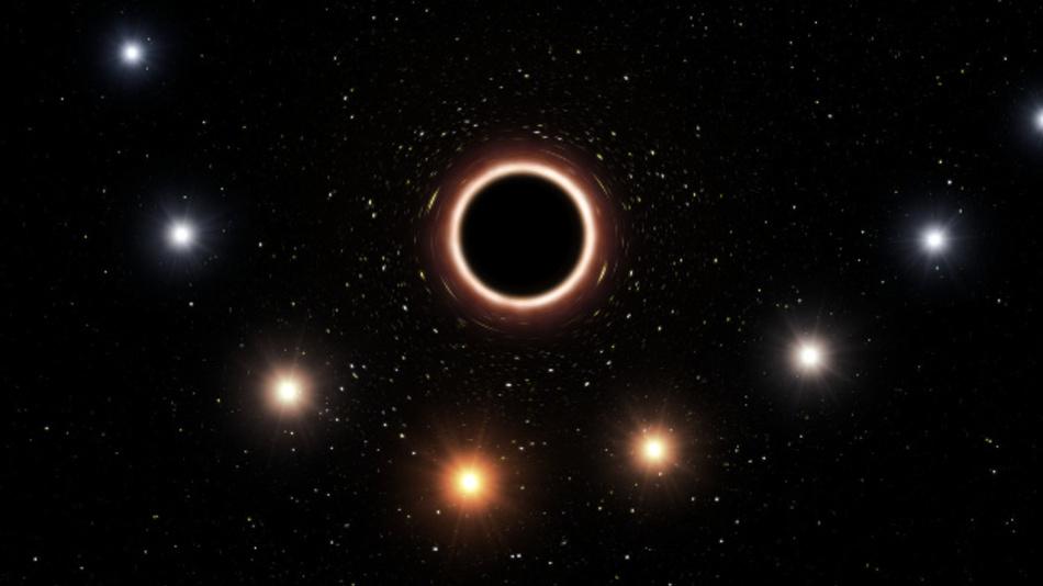 Farbwechsel: Diese Illustration zeigt den Stern S2 beim Vorübergang am schwarzen Loch im galaktischen Zentrum. Deutlich zu sehen ist die durch das extreme Schwerefeld verursachten Gravitations-Rotverschiebung.