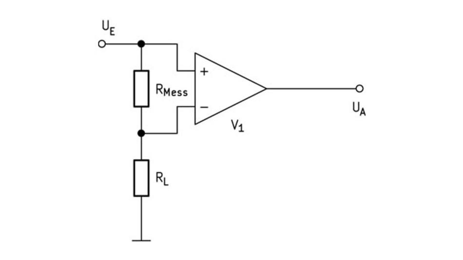 Bild 4. Strommessung mit Strommesswiderstand in der Zuleitung von der Stromversorgung zur Last.