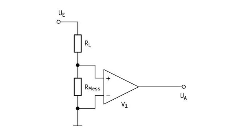 Bild 5. Masse-seitige Strommessung mit dem Strommesswiderstand in der Verbindungsleitung von der Last zur Masse.