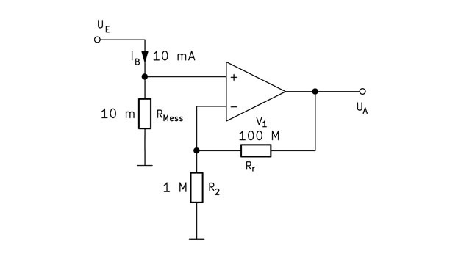 Bild 6. Schaltung zum Messen der Stromstärke. Die Spannungsdifferenz über dem Strommesswiderstand – sie soll möglichst klein sein – wird mit einem Operationsverstärker verstärkt.