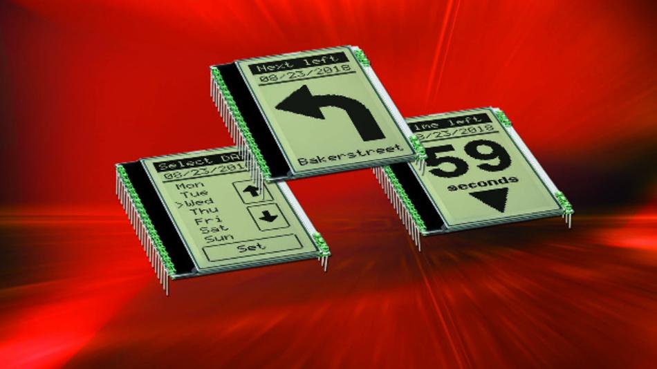 Das 51 x 68 mm2 große DOGL128 mit einer Auflösung von 64 x 128 Pixel ist in FSTN- und STN-Technik lieferbar.