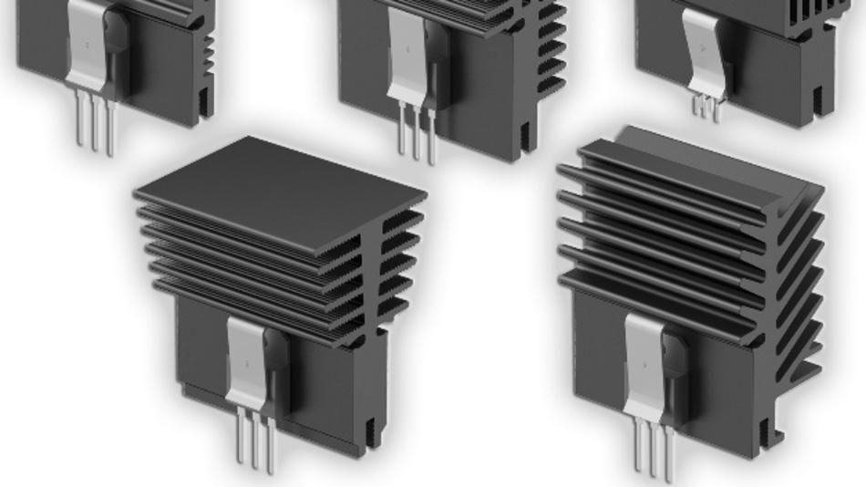Auf der Unterseite enthalten die Leiterplattekühlkörper einen im Strangpressverfahren hergestellten Gewindekanal.