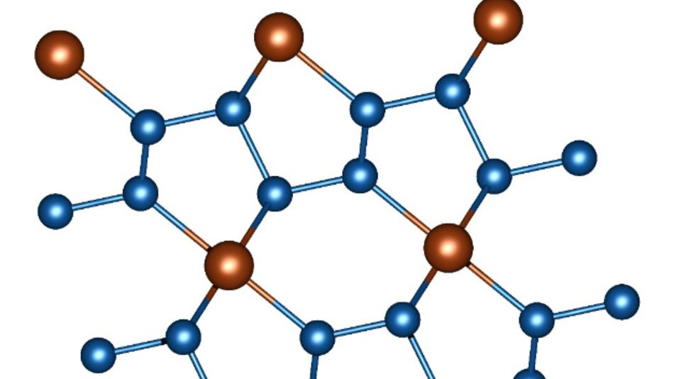 Ausschnitt aus der Kristallstruktur von FeN₄. Stickstoffatome sind blau, Eisenatome braun.