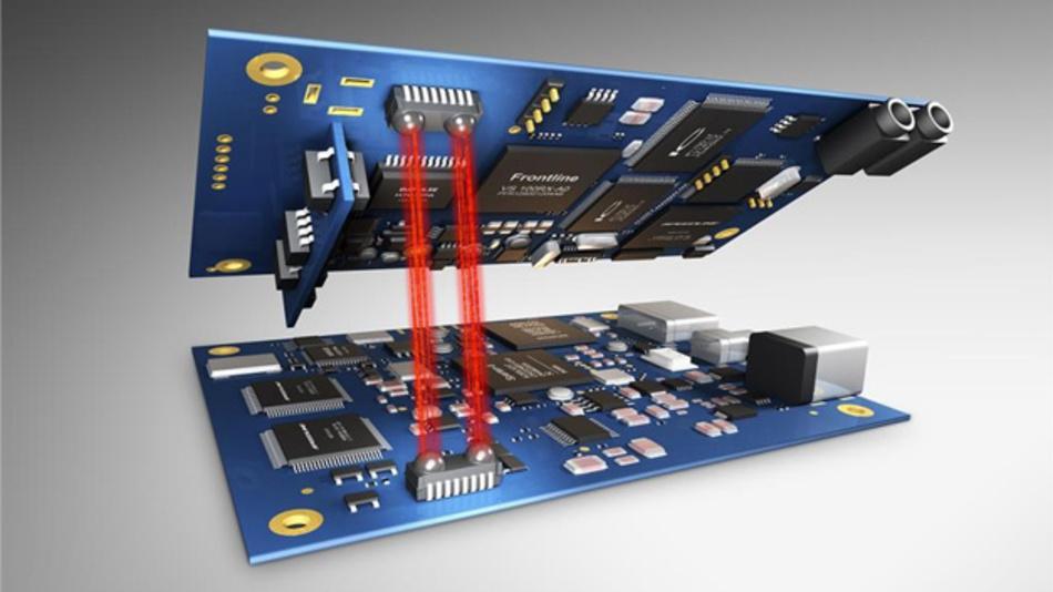 Einsatz von Licht (Li-Fi) zur Kommunikation zwischen zwei Modulen.