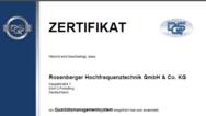Rosenberger ist nach dem neuen Automotive-Standard IATF 16949:2016 zertifiziert.