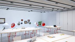 Büro mit Skim Downlights für Stromschienen von Erco
