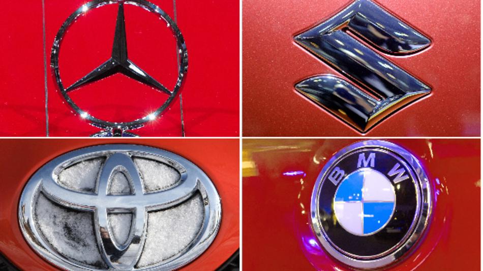 Die Bildkombination zeigt die Logos von Mercedes, Suzuki, Toyota und BMW.