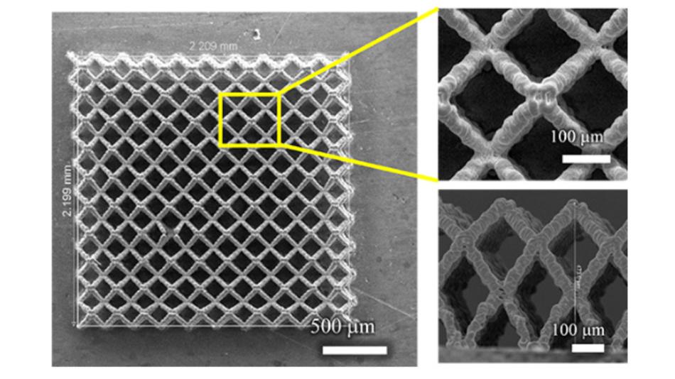 Rasterelektronenmikroskop-Aufnahmen von 3D-gedruckten Elektrode für Li-Ionen-Akkus.