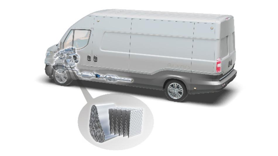 Motornahe Platzierung von Katalysator und Filter. Die »Ziehharmonika-Falttechnik« erlaubt asymmetrische und kleinere Katalysatorabmessungen.