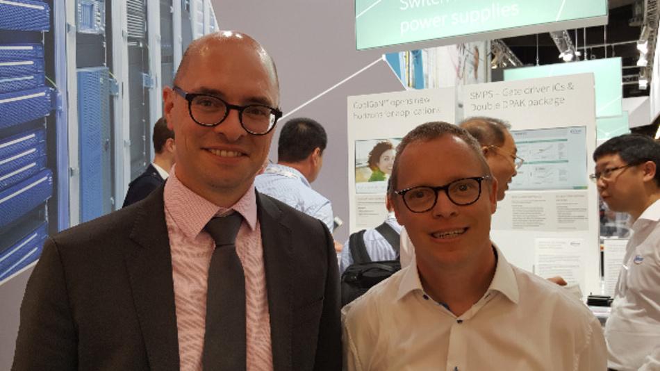 Our power specialist Ralf Higgelke met Dr. Steffen Metzger (left), Senior Director High Voltage Conversion at Infineon, at PCIM Europe 2018.