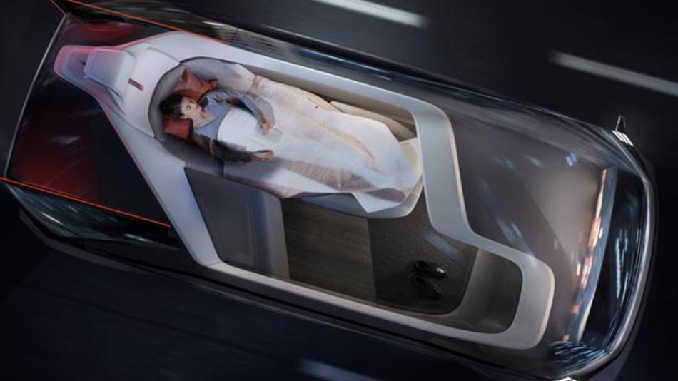 Mit dem 360c Konzept werden vier Einsatzmöglichkeiten für autonome Fahrzeuge präsentiert: eine Schlafumgebung, ein mobiles Büro, ein Wohnzimmer und ein Unterhaltungsraum. Im Schlafwagen dient eine spezielle Sicherheitsdecke als Rückhaltesystem, das genau wie der Dreipunkt-Gurt funktioniert, aber auf das Liegen während der Fahrt abgestimmt ist.