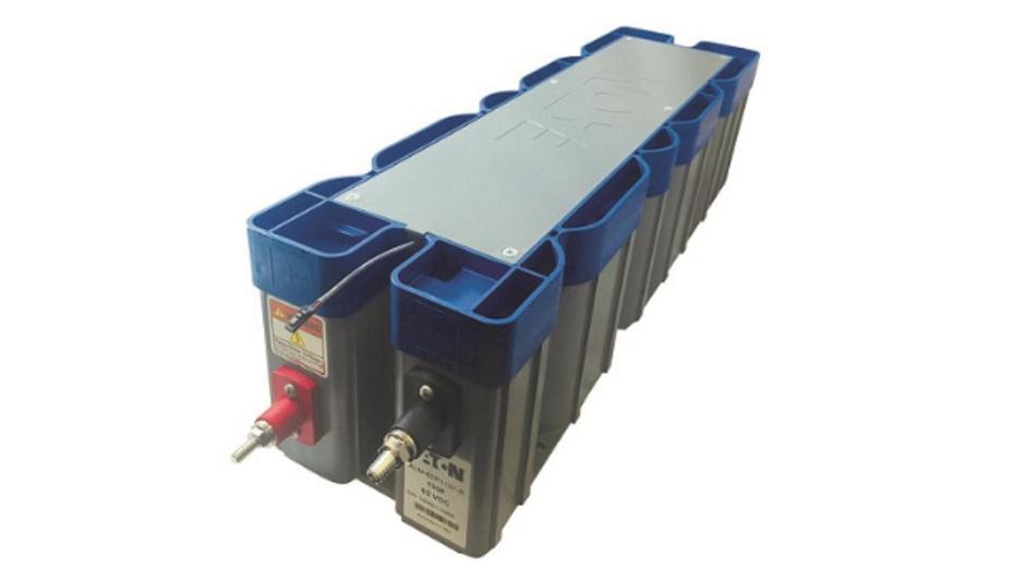 Der XLM-Superkondensatormodul hat eine Kapazität von 130 F bei einer Arbeitsspannung von 62 V und einen ESR von 6,7 mΩ.