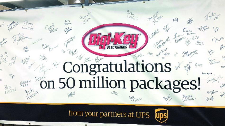 Täglich starten neun Frachtflugzeuge von dem Flugplatz in Thief River Falls, einer Start-/Landebahn mit angeschlossenem Logistikzentrum. Das gesamte UPS-Management hat Digi-Key zum 50-millionsten versendeten Paket gratuliert.