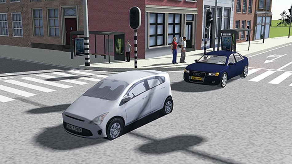 Bild 3. Visualisierung der Fahrsituation und Umgebung mit PreScan.