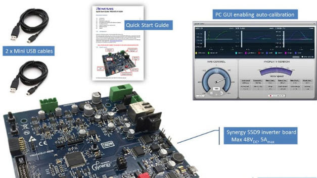 Ein »Synergy-S5D9«-Inverter-Board bildet den Kern des »YROTATE-IT-S5D9«-Inverter-Kit von Renesas.