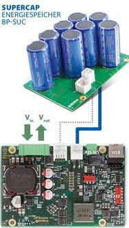 Das Lade- und Steuermodul ist mit dem Supercap-Energiespeicher über zwei Leitungen verbunden.