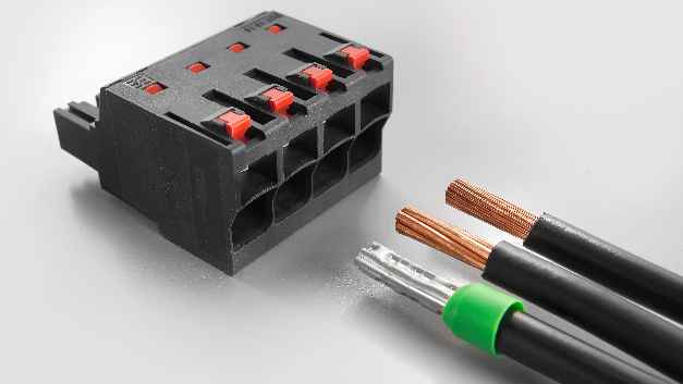Omnimate Power BUF 10.16 from Weidmüller: Push-in technology with settable wire-ready contact point simplifies the connection of stranded wires without wire-end ferrules and wires with particularly rigid insulation.